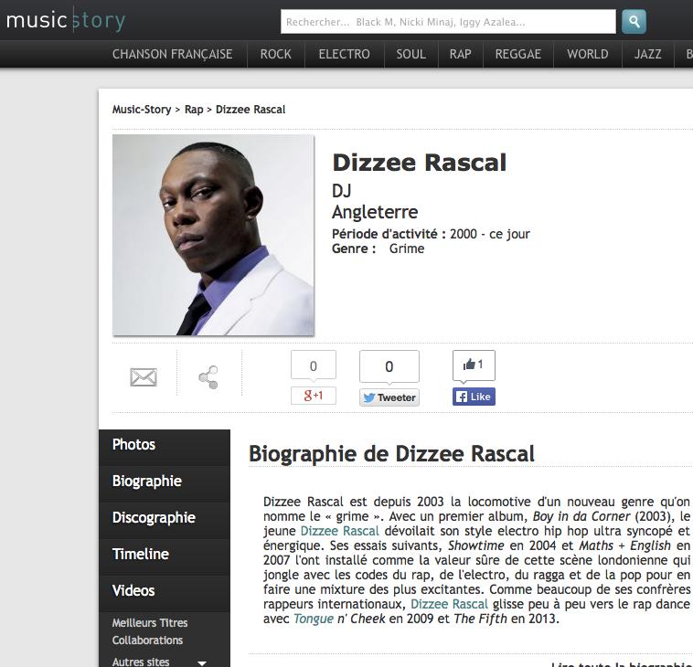 Dizzee Music Story